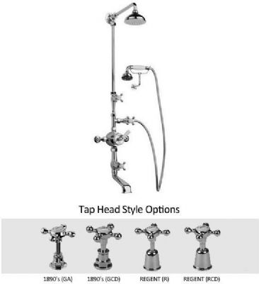 5702BA Barber Wilsons Thermostatic Shower/Bath Tap, Handspray, Wall Mount Cradle, With  Arm & Rose